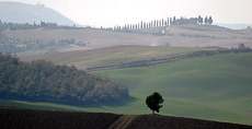 This landscape image shows an area of southern Tuscany.  It was photographed during the 2004 OpenShutter Workshops tour to Italy. Click on the image for more information about Workshops.